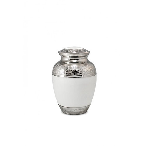 White Enamel and Nickel Adult Urn