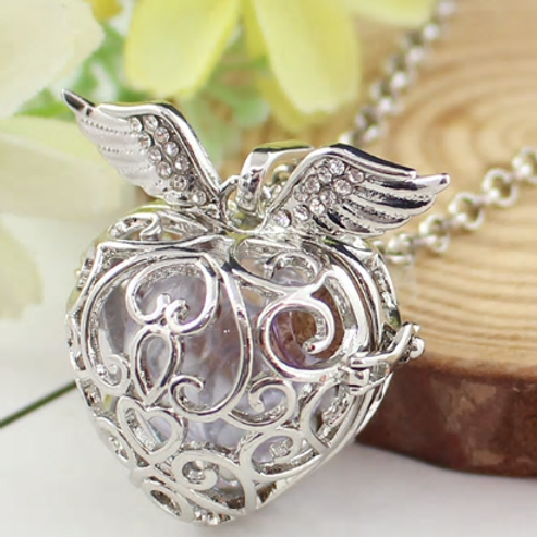 Angel Wing Hollow Cage with Chain