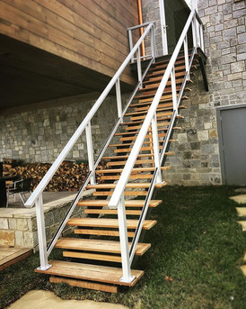 A new set of custom steel framed stairs by our team here at Elite Metalworks Inc!! #elitemetalworksinc #asheville #avl #cashiers #highlands_