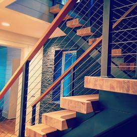 Modern staircase #elitemetalworksinc #asheville #avl #cashiers #highlands #wnc #ashevilledesign #ashevilleinterior #ashevilleinteriordesion_