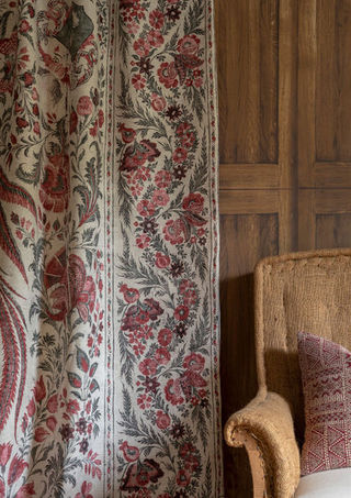 Lewis & Wood     This Palampore print  is enhanced by pairing it with this oak panelling