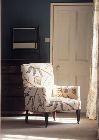 Lewis & Wood  Fantastic choice of wall colour,  contrasting with the bold pattern on this chair