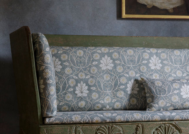 Lewis and Wood have added colour and texture to the background pattern of this design from their Voysey collection