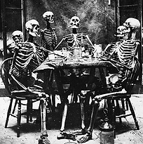 Skeletons at a dinner table