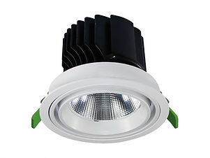 ▪ 25W, 35W & 50W high lumen commercial downlight ▪ Appx 80lm/w ▪ Adjustable 30° ▪ 2700K, 3000K or 4000K  ▪ Optic 15°, 20°, 40°, 55° ▪ 100mm, 150mm & 170mm Ø cut-out ▪ 108mm, 158mm, 178mm Ø bezel ▪ CRI80 light engines ▪ ▪ Glare control ▪ IP20 ▪ LED lifetime @ 50,000 hours ▪ High efficiency ▪ Low power consumption ▪ No UV or IR ▪ Compatible with fixed output, mains dimming,1-10v and DALI dimming systems