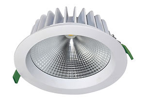▪ 12W, 15W, 22w, 30W & 33W,  high lumen COB commercial downlight ▪ Fixed optic ▪ 2700K, 3000K or 4000K  ▪ Optic 40° & 60 ° ▪ 90mm - 200mm Ø cut-out ▪ 110mm - 230mm Ø bezel ▪ White finish ▪ CRI80 light engines ▪ IP54 ▪ LED lifetime @ 50,000 hours ▪ High efficiency ▪ Low power consumption ▪ No UV or IR ▪ Compatible with fixed output, mains dimming,1-10v and DALI dimming systems