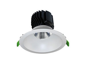 ▪ 25W, 35W & 50W high lumen commercial downlight ▪ Appx 80lm/w ▪ Fixed wide bezel ▪ 2700K, 3000K or 4000K  ▪ Optic 15°, 24°, 38° ▪ 115mm, 150mm & 170mm Ø cut-out ▪ 125mm, 165mm & 190mm Ø bezel ▪ White finish ▪ CRI80 light engines ▪ IP20 ▪ LED lifetime @ 50,000 hours ▪ High efficiency ▪ Low power consumption ▪ No UV or IR ▪ Compatible with fixed output, mains dimming,1-10v and DALI dimming systems