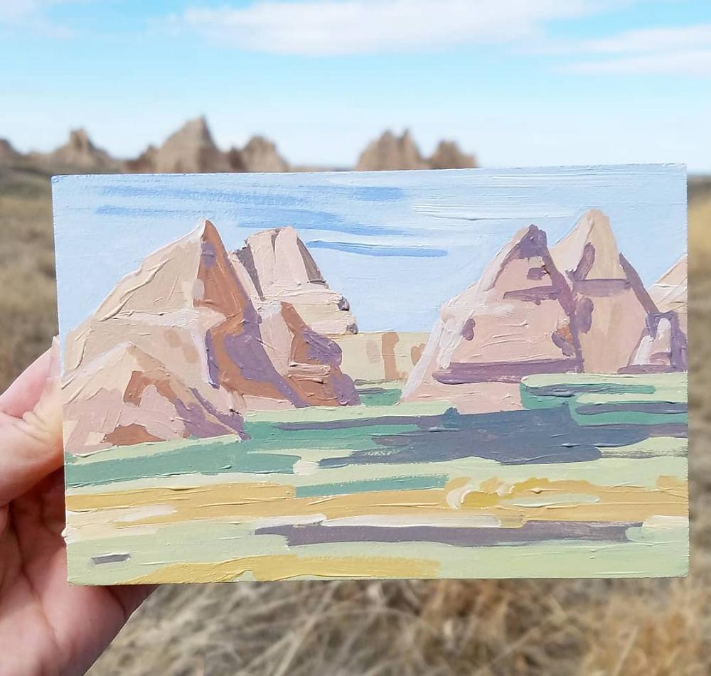 badands plein air painting
