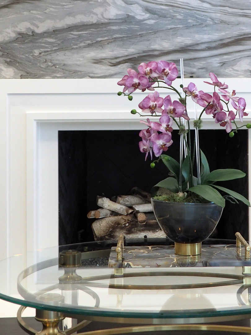 Small orchid plant with acrylic support rods