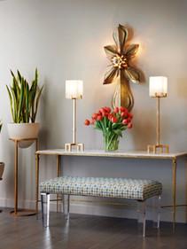 Faux Tulips and faux sanseveria plants