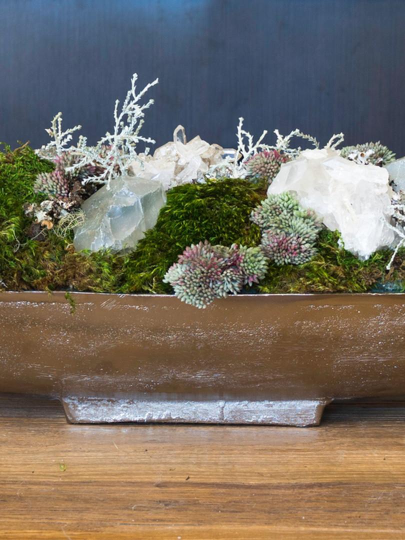 long mixed moss, crystal and sedum arrangement