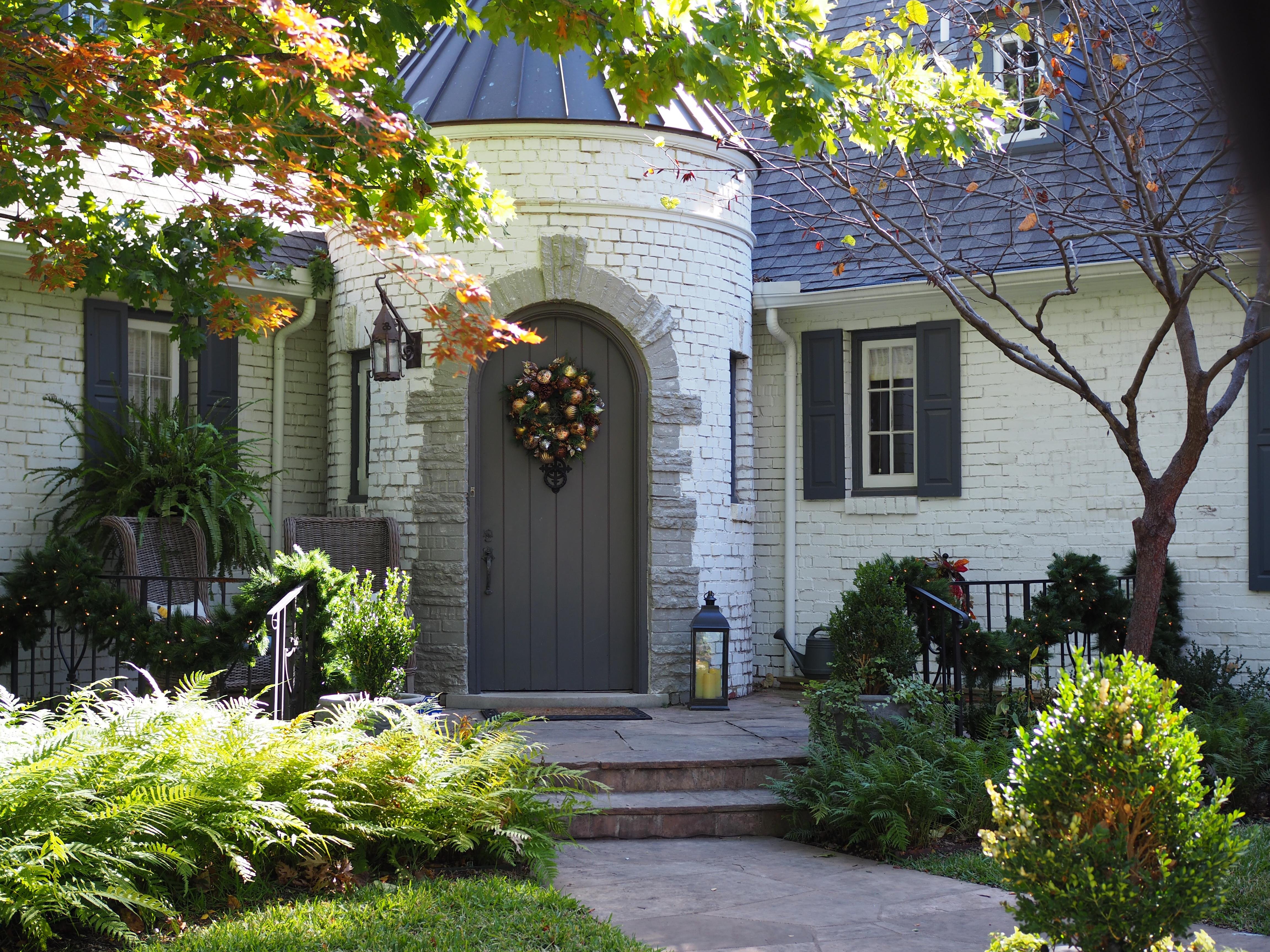 Front Door Wreath and Fence Garland
