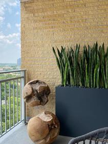 Faux sansevieria planting on patio