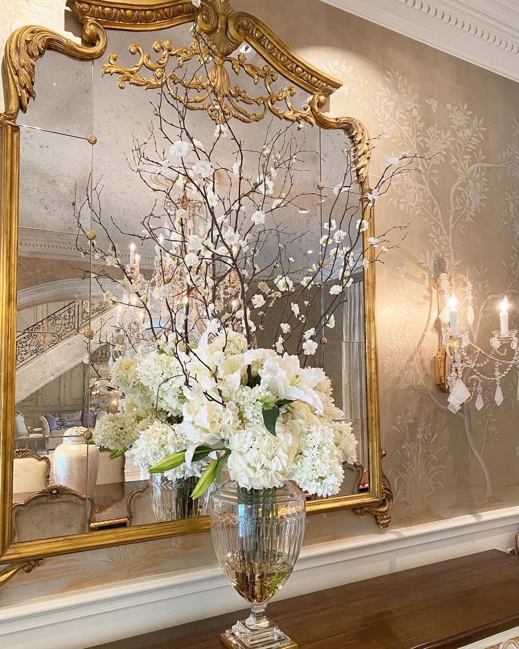 Hydrangea, Lilly, and branch arrangement