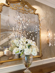 Artificial blossom branches with hydrangeas