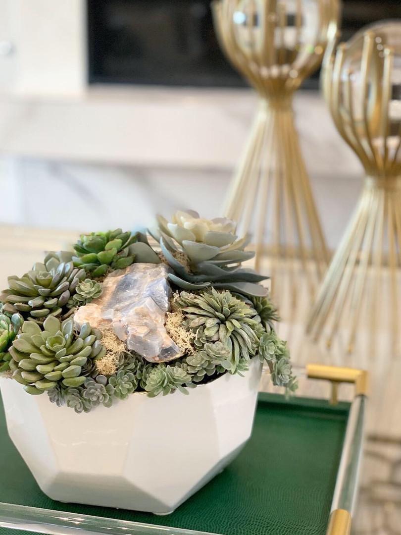 Mixed succulent with mineral arrangement