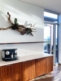 Hanging Wall wood Sculpture with faux succulents