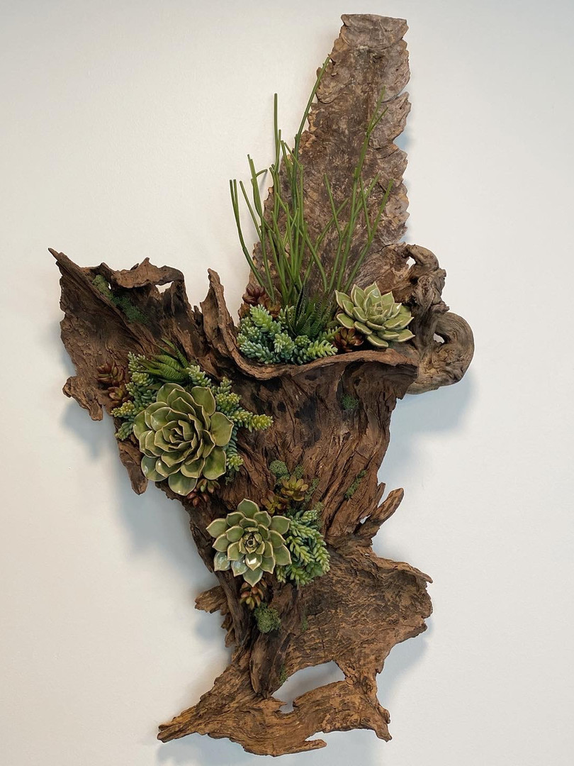 Mirrored complementary wooden scultpures with ceramic and artificial succulents