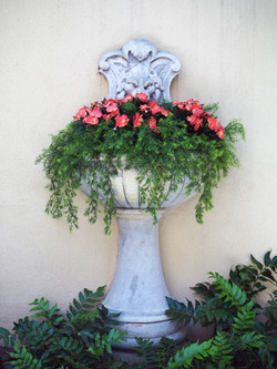 Silk Impatiens flowers with sprigs