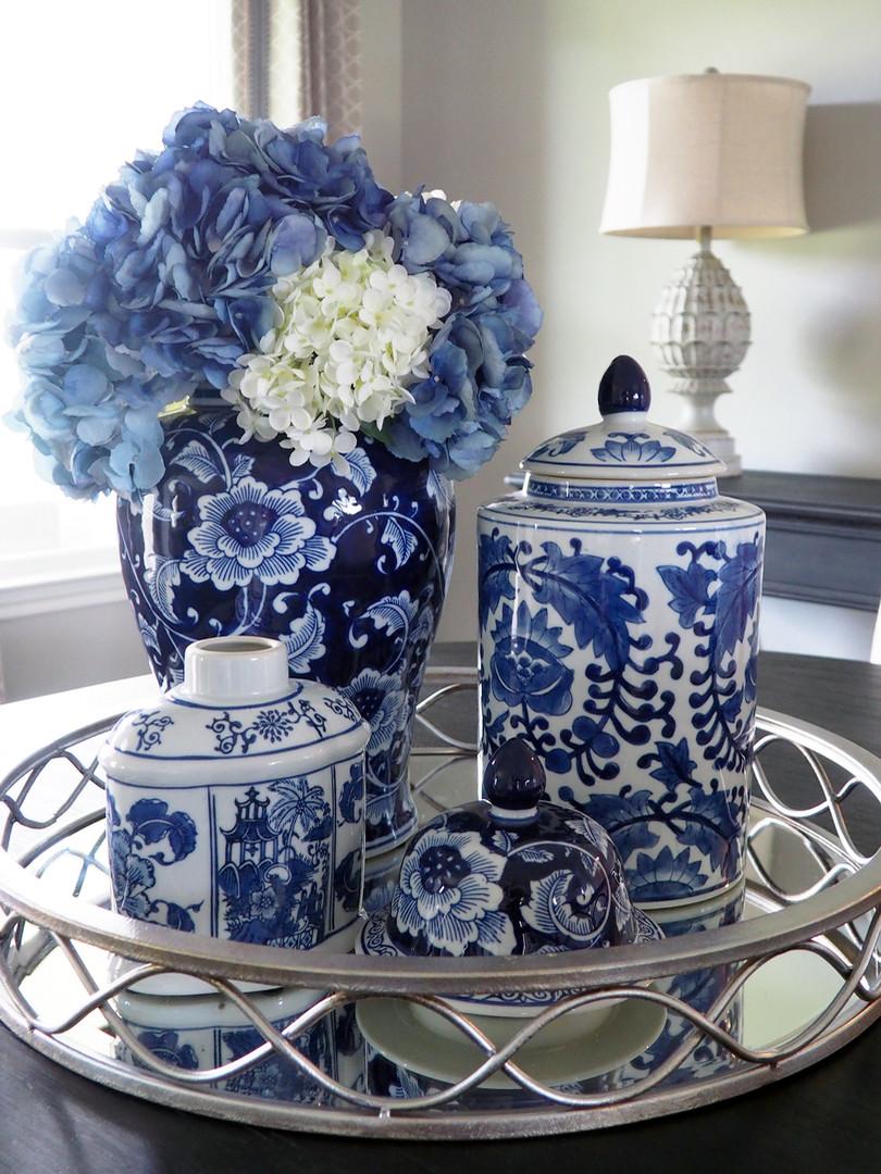 Faux Blue hydrangeas in ginger jars