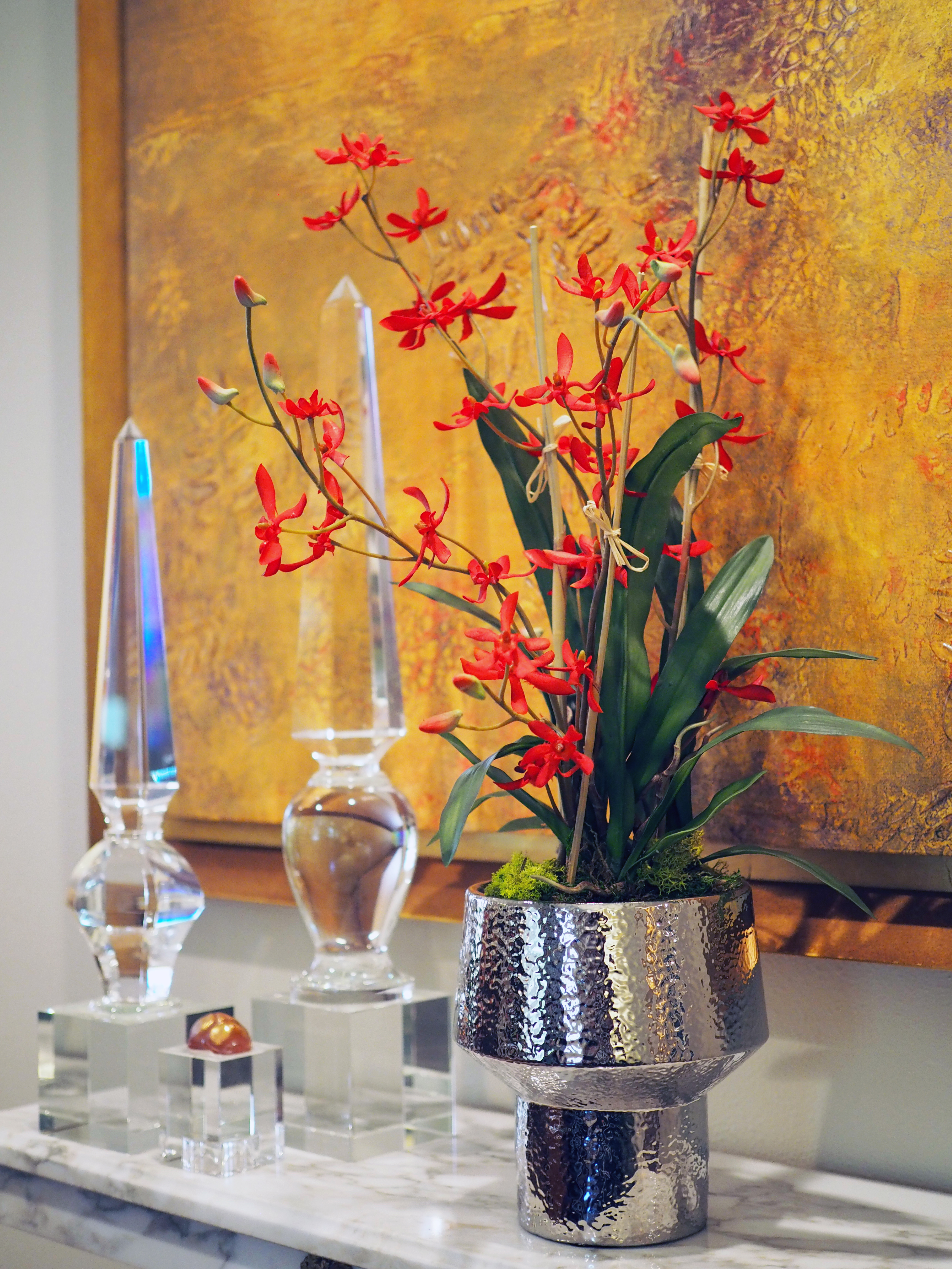 Red Dendrobium in Silver Urn
