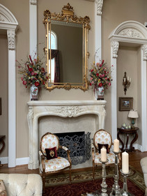 Traditional floral arrangements for mantle