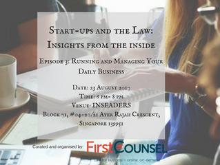 Upcoming Event for August 'Start-ups & the Law: Insights from the Inside'- Episode 3: Ru
