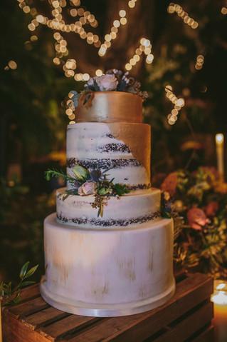 Gold Naked Wedding Cake
