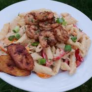 Creamy Rasta Pasta with Jerk Shrimp