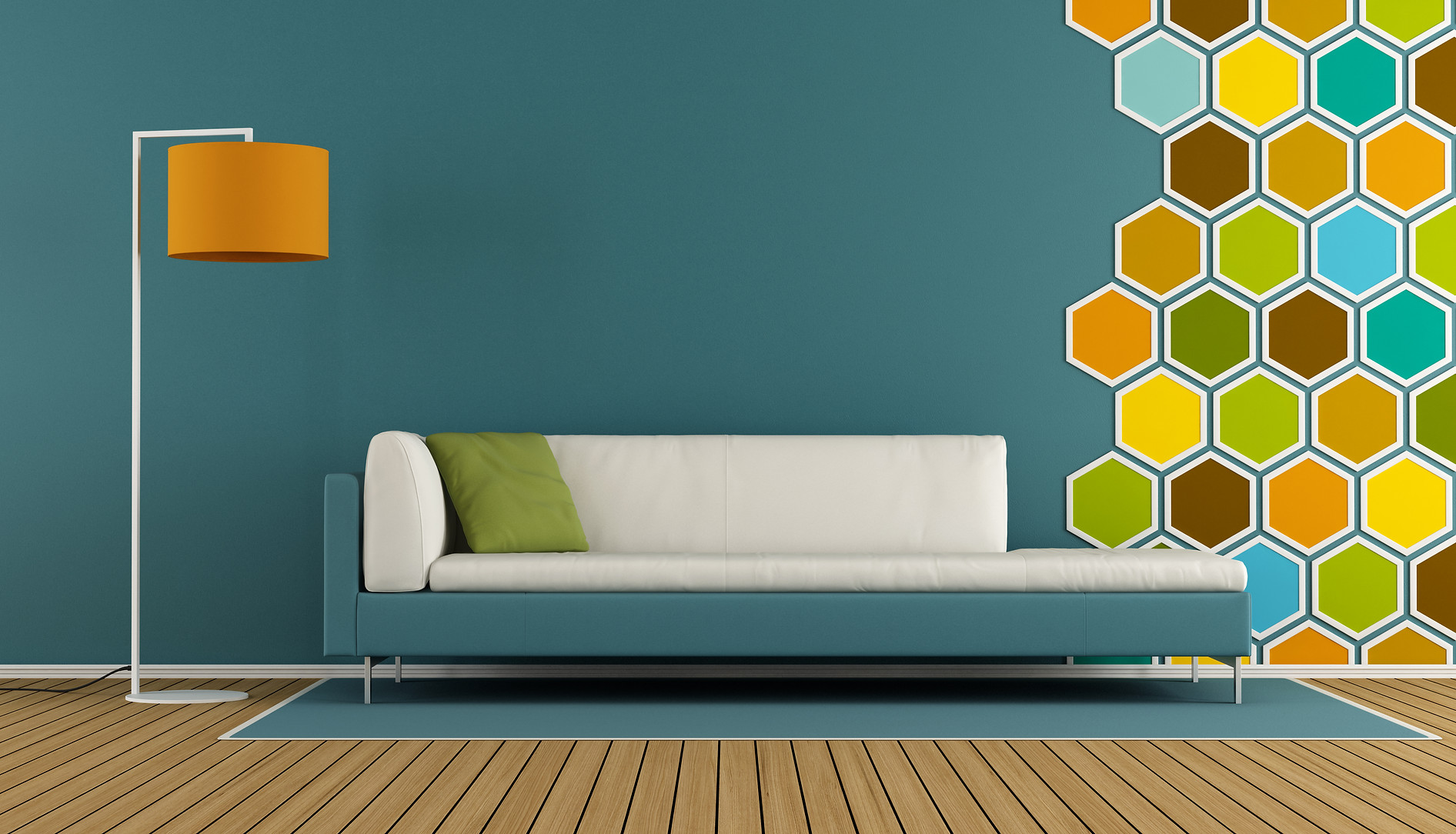 blue-living-room-with-hexagon-decoration