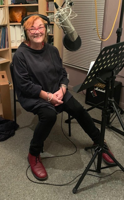 Kaye Umansky recording one of her rhymes for Playsongs Grand Day Out songs and rhymes for active grandparenting