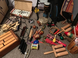 Getting ready for the Grand Playsongs sessions with a grand collection of sound makers. Everything from agogo bells to xylophones.