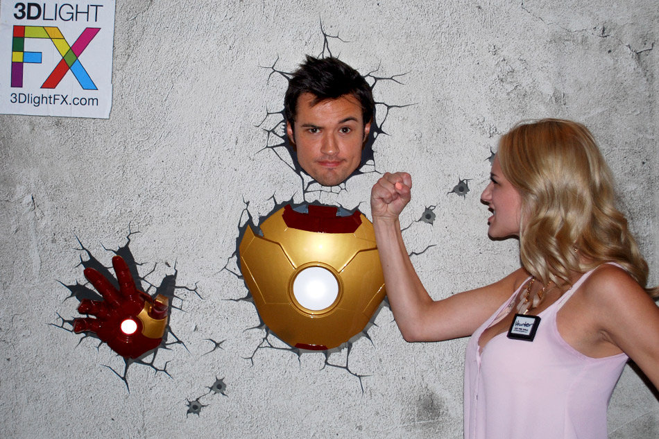 Y&R co-stars Hunter King (Summer) and Matthew Atkinson (Austin) having some fun with 3DlightFX Iron Man product invented and designed by Tom Wegrzyn, an internationally award winning artist, designer, inventor living in West Palm Beach, Florida. Tom Wegrzyn specializes in Brand Development, Design, Portraits, Paintings, Illustration, and Photo-Retouching.