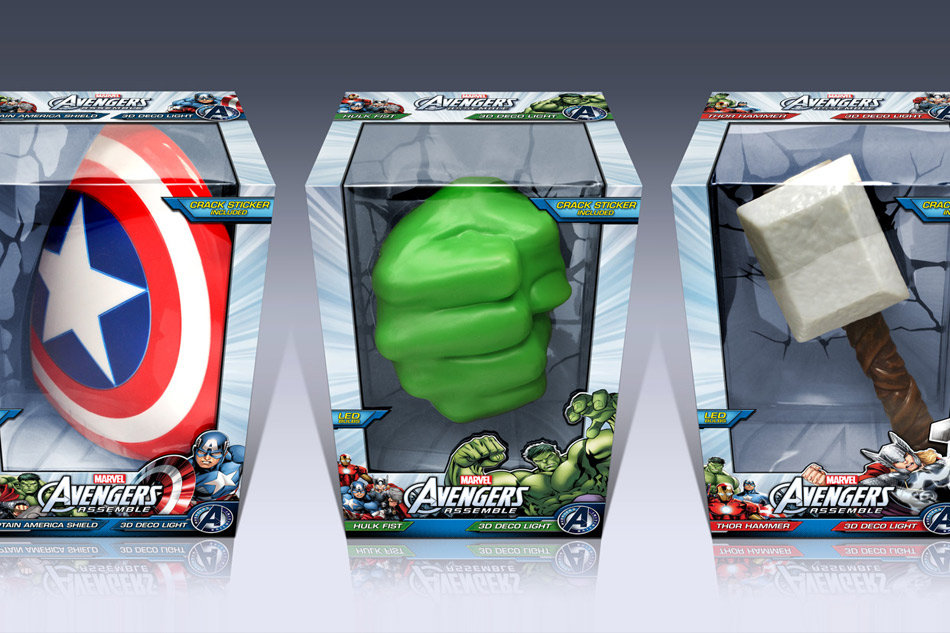 3D light FX Marvel Avengers package design by Tom Wegrzyn for products invented and designed by Tom Wegrzyn, an internationally award winning artist, designer, inventor living in West Palm Beach, Florida. Tom Wegrzyn specializes in Brand Development, Design, Portraits, Paintings, Illustration, and Photo-Retouching.