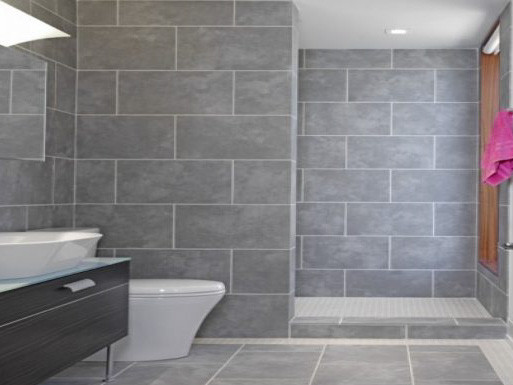 grey tile in bathroom