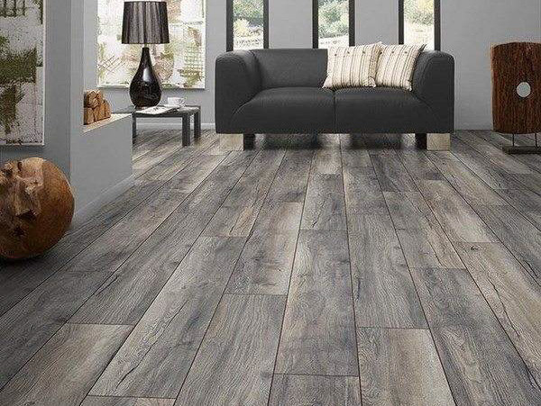 grey hardwood flooring in family room