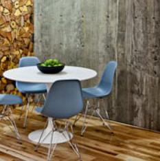 break area with wood floor