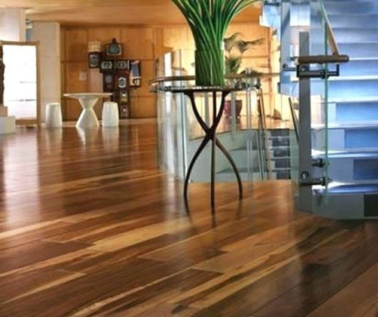 exotic wood floor in entry