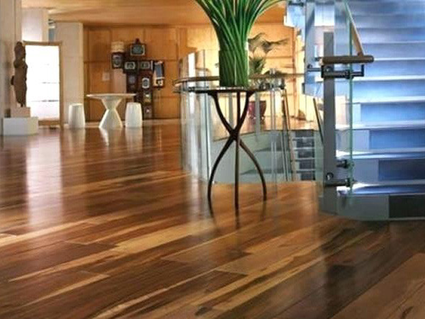 exotic hardwood flooring in entry