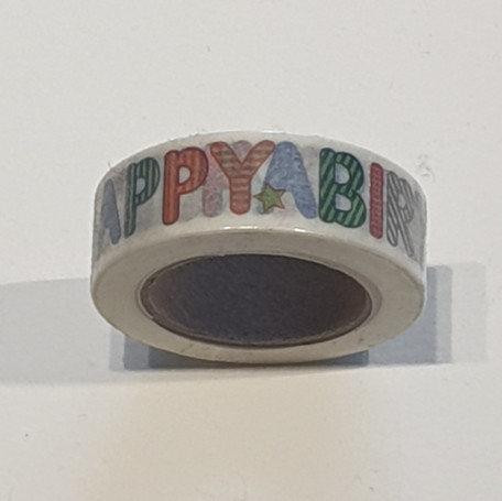 Washi Tape Happy Birthday White
