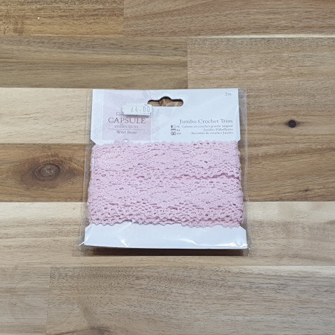 docrafts Papermania Jumbo Crochet Trim Pink