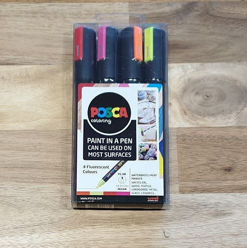 Posca Paint in a Pen 4 Flourescent Colours