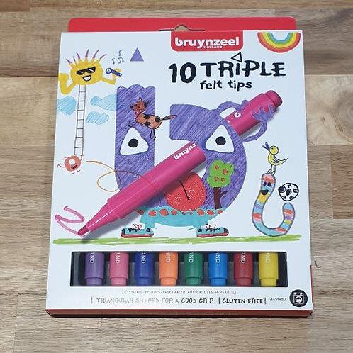 Bruynzeel 10 Triple Felt Tips
