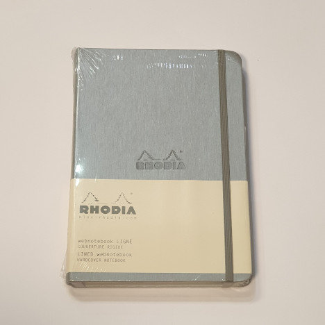 Rhodia Silver A5 Lined Hardcover Notebook