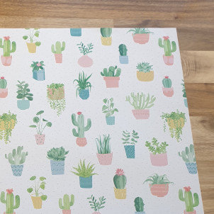 sass & belle Cactus on White Gift Wrap Paper