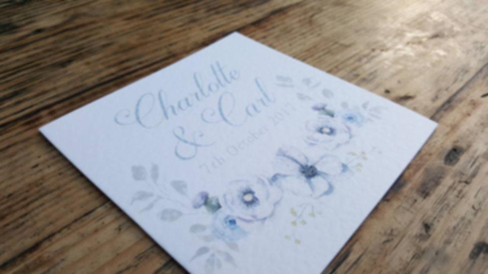 Postscript Frome Bespoke Floral Wedding Invitation