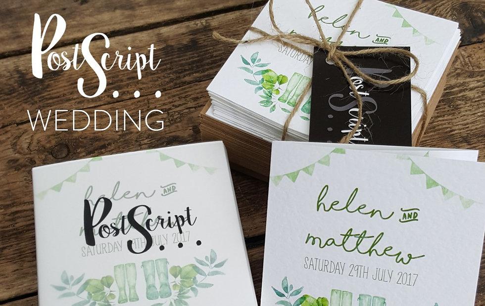Postscript Frome Rustic Wedding Invitation