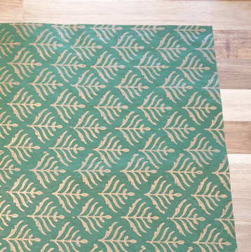 Papermirchi Block Printing on Green Wrapping Paper