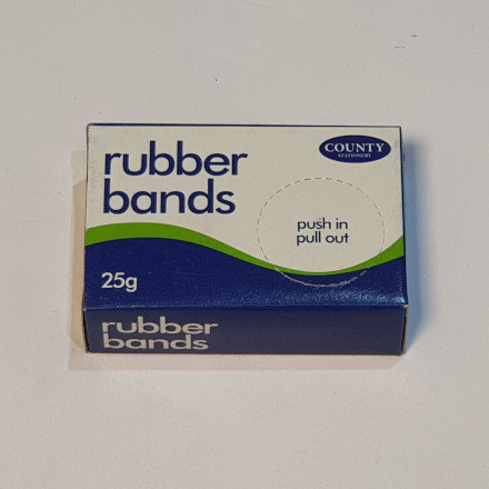 County Stationary Size Assorted Rubber Bands 25g