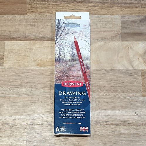 Derwent Drawing Soft Drawing Pencils 6 Pk